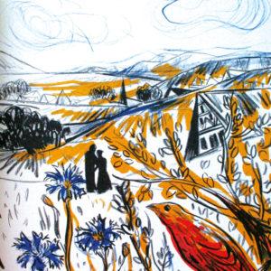 Ich hört' ein Sichelein rauschen | Seite aus dem 4farbigen originalgrafischen Buch »Ich hört' ein Sichelein rauschen – Liebeslieder«, 26 × 21 cm, Original-Offset, 2006