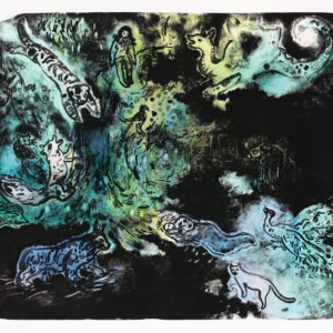 Franziska Guettler FALLEN, FALLEN | 55 × 65 cm, Lithographie, handkoloriert, 2017