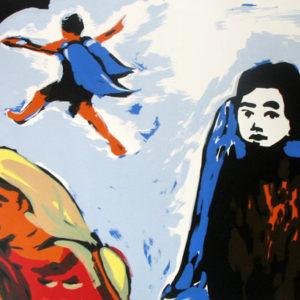 Franziska Guettler_FUNDEVOGEL | Seite aus: Fundevogel. Märchen der Gebrüder Grimm. Siebdruck, 8farbig. 40 × 30 cm. 2004