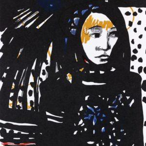 SCHWESTERLEIN | Seite aus dem 4farbigen originalgrafischen Buch »Ich hört' ein Sichelein rauschen – Liebeslieder«, Original-Offset, 2006