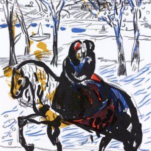 BLAUBLÜMELEIN | Seite aus dem 4farbigen originalgrafischen Buch »Ich hört' ein Sichelein rauschen – Liebeslieder«, Original-Offset, 2006