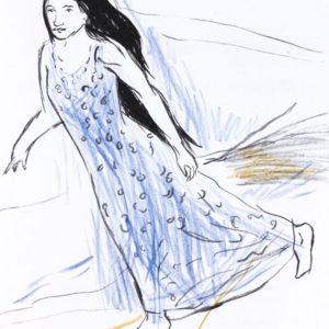 FEINSLIEBCHEN | Seite aus dem 4farbigen originalgrafischen Buch »Ich hört' ein Sichelein rauschen – Liebeslieder«, Original-Offset, 2006