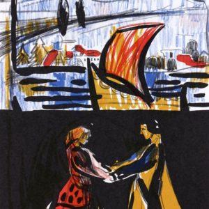 ZWEI TIEFE WASSER | Seite aus dem 4farbigen originalgrafischen Buch »Ich hört' ein Sichelein rauschen – Liebeslieder«, 26 × 21 cm, Original-Offset, 2006