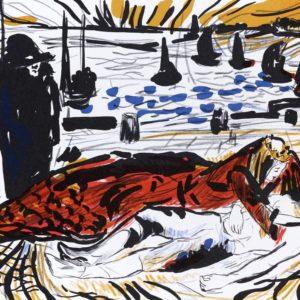 KÖNIGSKINDER | Seite aus dem 4farbigen originalgrafischen Buch »Ich hört' ein Sichelein rauschen – Liebeslieder«, 26 × 21 cm, Original-Offset, 2006