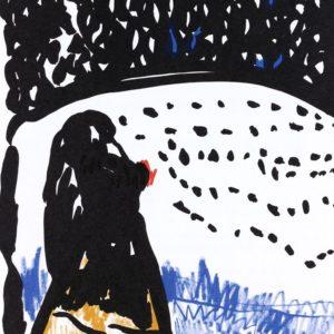 DER SCHWERE TRAUM | Seite aus dem 4farbigen originalgrafischen Buch »Ich hört' ein Sichelein rauschen – Liebeslieder«, 26 × 21 cm, Original-Offset, 2006