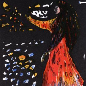 DIE SCHÖNE LILOFEE | Seite aus dem 4farbigen originalgrafischen Buch »Ich hört' ein Sichelein rauschen – Liebeslieder«, Buntstift und Tusche auf Papier, 2005