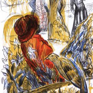 GRASGRÜNER WALD | Seite aus dem 4farbigen originalgrafischen Buch »Ich hört' ein Sichelein rauschen – Liebeslieder«, Original-Offset, 2006