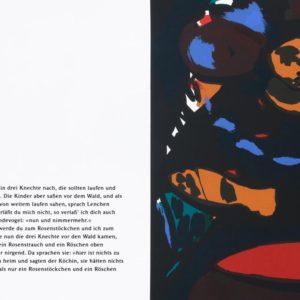 KÖCHIN | Seite aus: Fundevogel. Märchen der Gebrüder Grimm. Siebdruck, 8farbig. 40 × 30 cm. 2004