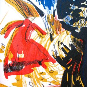 LINDENLAUB | Seite aus dem 4farbigen originalgrafischen Buch »Ich hört' ein Sichelein rauschen – Liebeslieder«, 26 × 21 cm, Original-Offset, 2006