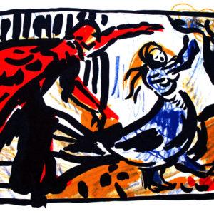 Maibaum | Vignette aus dem 4farbigen originalgrafischen Buch »Ich hört' ein Sichelein rauschen – Liebeslieder«, Original-Offset, 2006