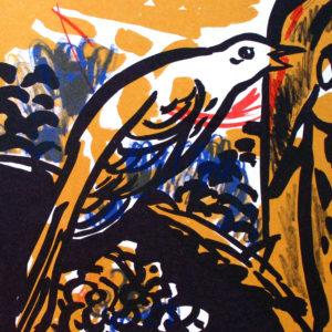 Wach auf, meins Herzens Schöne | Seite aus dem 4farbigen originalgrafischen Buch »Ich hört' ein Sichelein rauschen – Liebeslieder«, Original-Offset, 2006