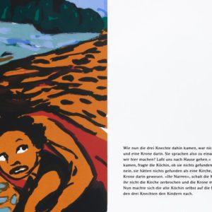 Flucht | Seite aus: Fundevogel. Märchen der Gebrüder Grimm. Siebdruck, 8farbig. 40 × 30 cm. 2004