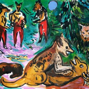 Fuchs-Gang | 64×90 cm, Tusche auf Papier, 2016
