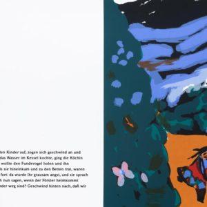 Geschwister | Seite aus: Fundevogel. Märchen der Gebrüder Grimm. Siebdruck, 8farbig. 40 × 30 cm. 2004