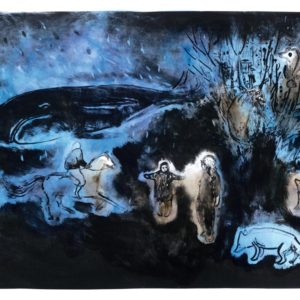 Franziska Guettler_Gute Nacht o Wesen 54 × 75 cm, Lithographie / Tusche, 2016