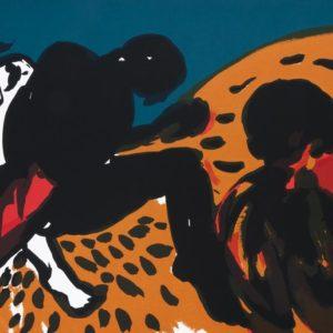 Knechte | Seite aus: Fundevogel. Märchen der Gebrüder Grimm. Siebdruck, 8farbig. 40 × 30 cm. 2004