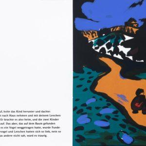 Lenchen | Seite aus: Fundevogel. Märchen der Gebrüder Grimm. Siebdruck, 8farbig. 40 × 30 cm. 2004
