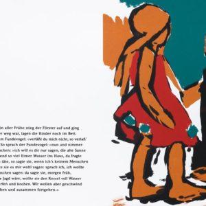Nun und nimmermehr | Seite aus: Fundevogel. Märchen der Gebrüder Grimm. Siebdruck, 8farbig. 40 × 30 cm. 2004