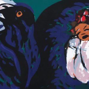 Vogelnest | Seite aus: Fundevogel. Märchen der Gebrüder Grimm. Siebdruck, 8farbig. 40 × 30 cm. 2004