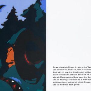 Wald | Seite aus: Fundevogel. Märchen der Gebrüder Grimm. Siebdruck, 8farbig. 40 × 30 cm. 2004