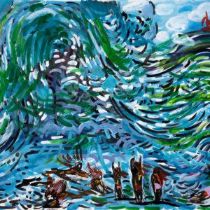 Franziska Guettler_WELLEN| 90×64 cm, Tusche auf Papier, 2016