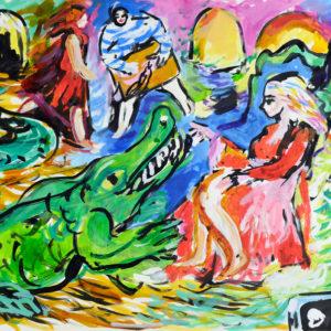 Krokodil | 64 × 90 cm, Tusche auf Papier, 2019